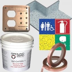 ESD Flooring Accessories - grounding plates, copper tape, adhesives